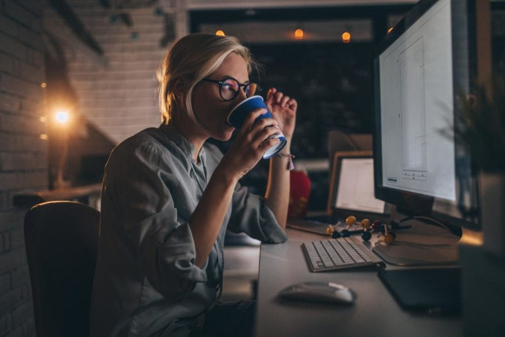 Image of lady working late