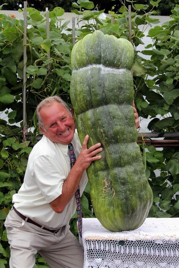 Man with Giant vegetable