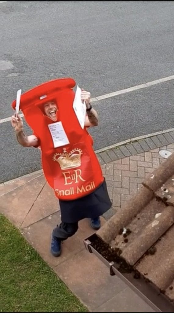Image of man in penrith who dressed up as a postbox