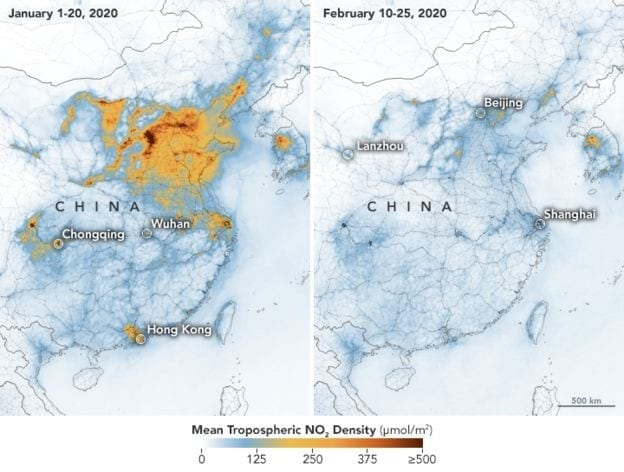 A map of China showing how CO2 emmissions have reduced since 2019